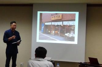 中小企業診断士近畿ブロック研修会での八田社長講演風景(2016年9月17日)