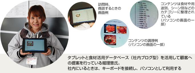 タブレットと食材活用データベース(社内ブログ型)を活用して顧客への提案を行っている堀理恵氏。