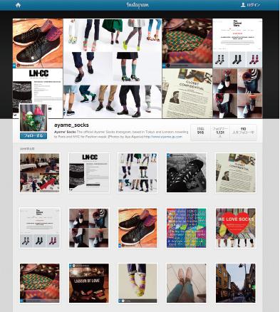 Ayame' socks社のインスタグラム画像例